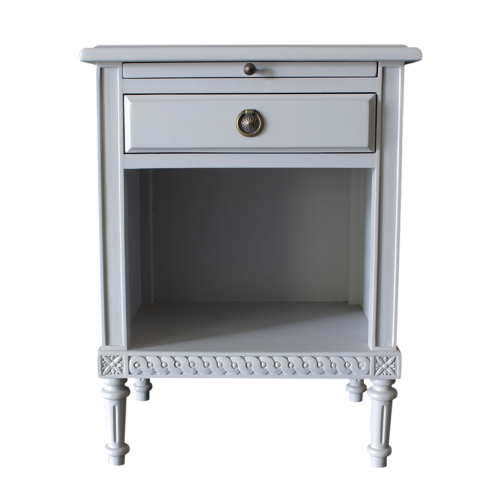Gustavian Bedside Table with pullout tray in grey