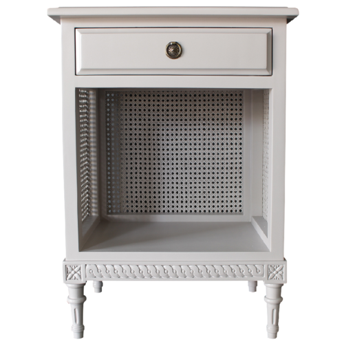 Gustavian Bedside with Rattan in linen finish