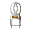Laurine Chair in white with gold velvet cushion