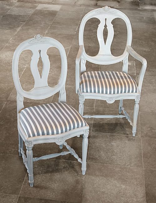Laurine and Carver chairs in white with grey striped fabric