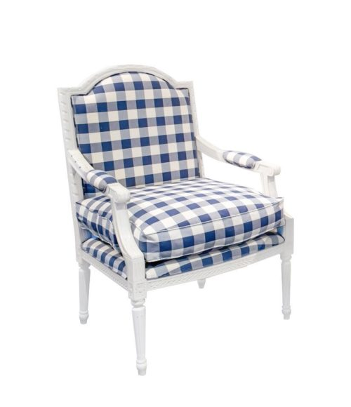 Louis XVI Lounge Chair with Blue Check fabric