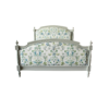 Marie Antoinette bed frame with light grey finish and Lily Stream fabric