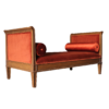 Salon Daybed Mahogany wood and red fabric