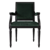 Square back side chair in black with green fabric front view