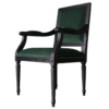 Square back side chair in black with green fabric
