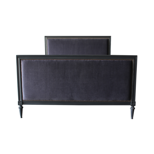 Karl Bed Frame in charcoal finish and midnight fabric