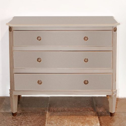 Gustavian Chest of Three Drawers Grey Front