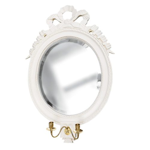 Gustavian Oval Wall Mirror with Double Sconce