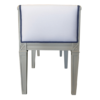 Sofia bench Side view Grey finish and white fabric