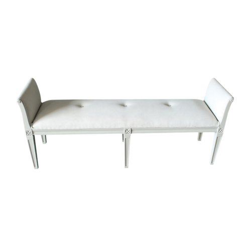 Sofia Bench Grey finish with ligt grey fabric
