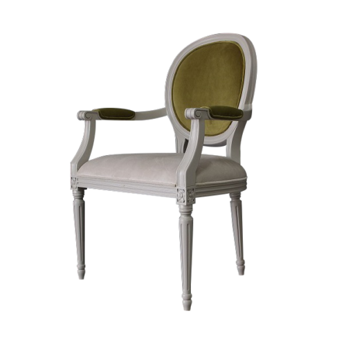 Oval Chair with olive velvet fabric